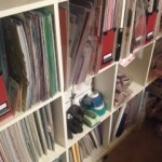 Shelf with scrapbook papers